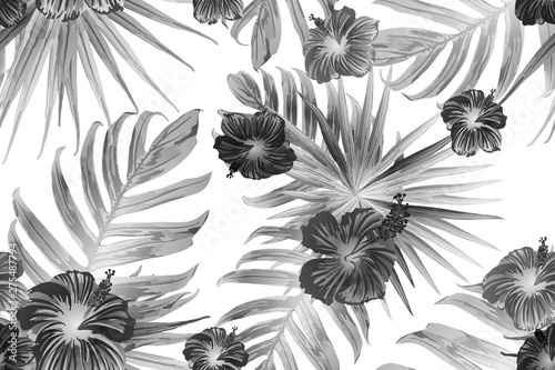Fototapeta Black white exotic pattern. obraz na płótnie