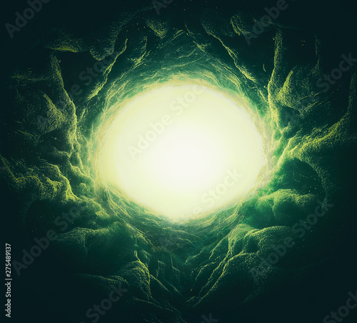 scary background of underground hole with root textures Fototapet