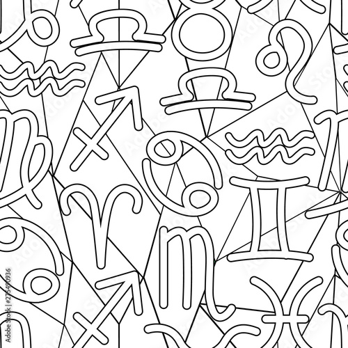 seamless pattern consisting of zodiac signs symbols, graphic