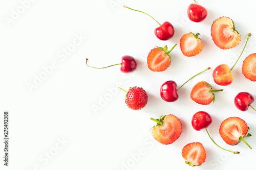 Fresh Raw Organic Seasonal Fruits Berries on a white background - 275492388