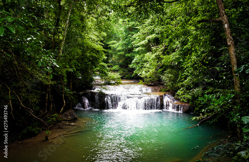 waterfall in forest view ,kanchanaburi waterfall erawan