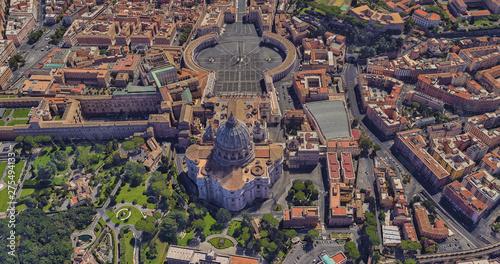 Fototapeta St. Peter's Basilica in the Vatican from a bird's eye view obraz na płótnie