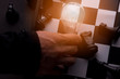 Idea of Business strategy concept. Smart thinking idea business with chess board game. 5