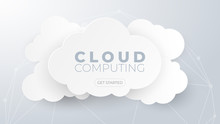 Cloud Computing Technology And Big Data Concept. Paper Art With Clouds On White And Grey Background.