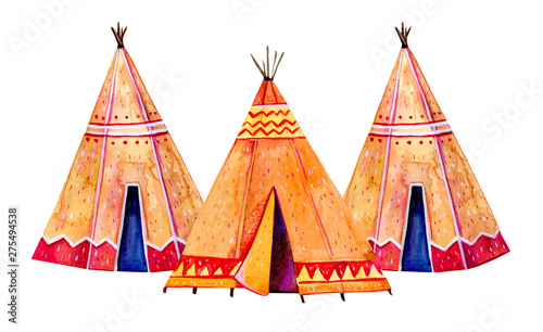 Photo Stands Two Native American tipis. Stylized hand drawn watercolor illustration set