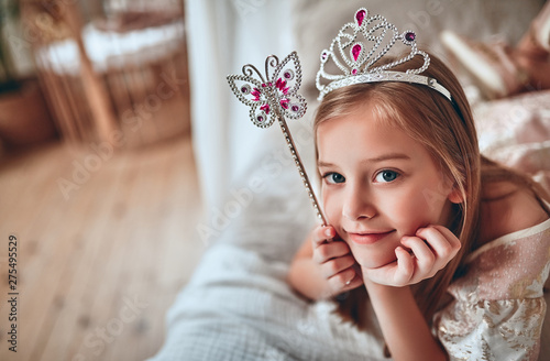 Fotografie, Obraz  Princess girl at home