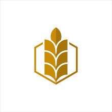 Simple Gold Illustration Icon For Growth Wheat Logo Design