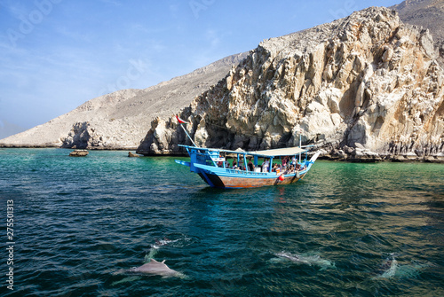 Khasab, Oman: Tourist seeing dolphins from boat. Poster Mural XXL