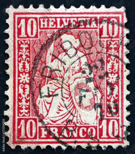 Fototapeta Postage stamp Switzerland 1867 Helvetia, female personification of Switzerland