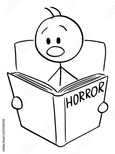 Vector cartoon stick figure drawing conceptual illustration of frightened man reading scary horror book Tapéta, Fotótapéta