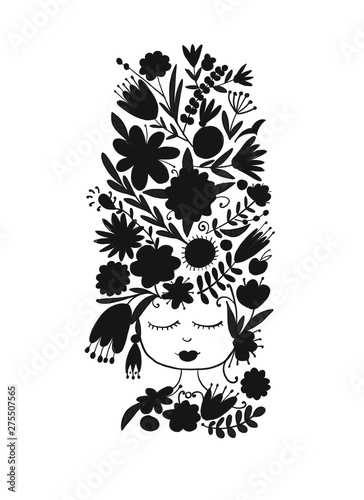 Printed kitchen splashbacks Greeting card design with pretty floral woman