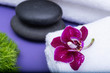 Wellness Relax concept with Spa elements. Rolled up White Towels, Orchid, stacked Basalt Stones, and Dianthus Flowers on purple background.