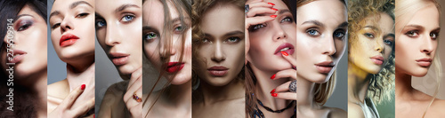 Different female faces. collage of beautiful women