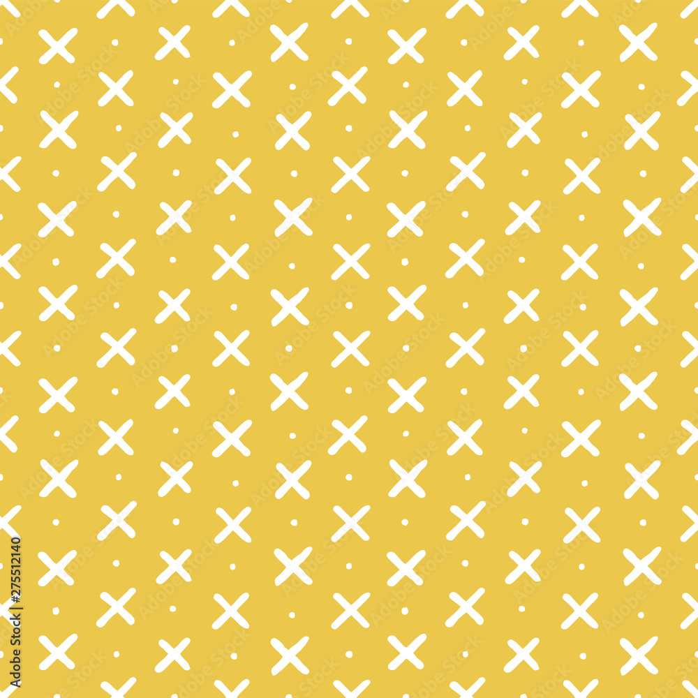 Cute seamless vector background with criss cross and dots on yellow. Scandinavian style, hand drawn design for baby shower, Birthday, scrapbook, cards, textiles, gift wrapping paper, surface textures.
