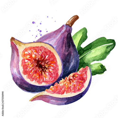 Stampa su Tela Fresh ripe purple fig fruit and slices with leaf