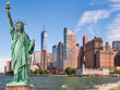 Statue of Liberty in front of the Manhattan skyline, in New York city,USA