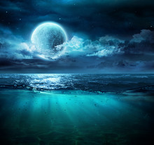 Moon On Sea In Magic Night Wit...