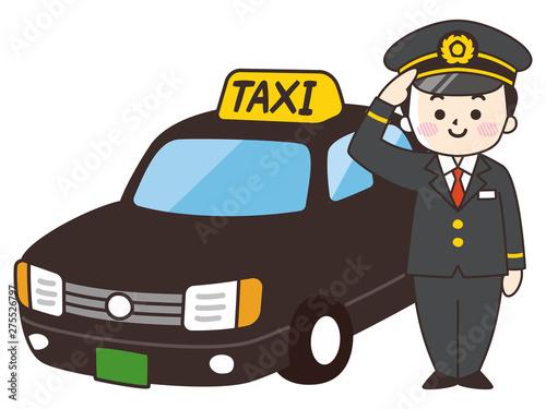 Fotografering 運転士の男性とタクシー
