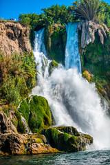 Panel Szklany Wodospad Antalya waterfall in the sea, Turkey