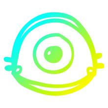 Cold Gradient Line Drawing Cartoon Blue Eye