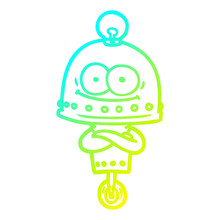 Cold Gradient Line Drawing Happy Carton Robot With Light Bulb