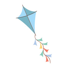 Blue Colored Kite Flying With ...