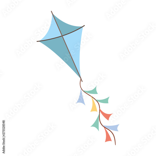 blue colored kite flying with white background Canvas Print