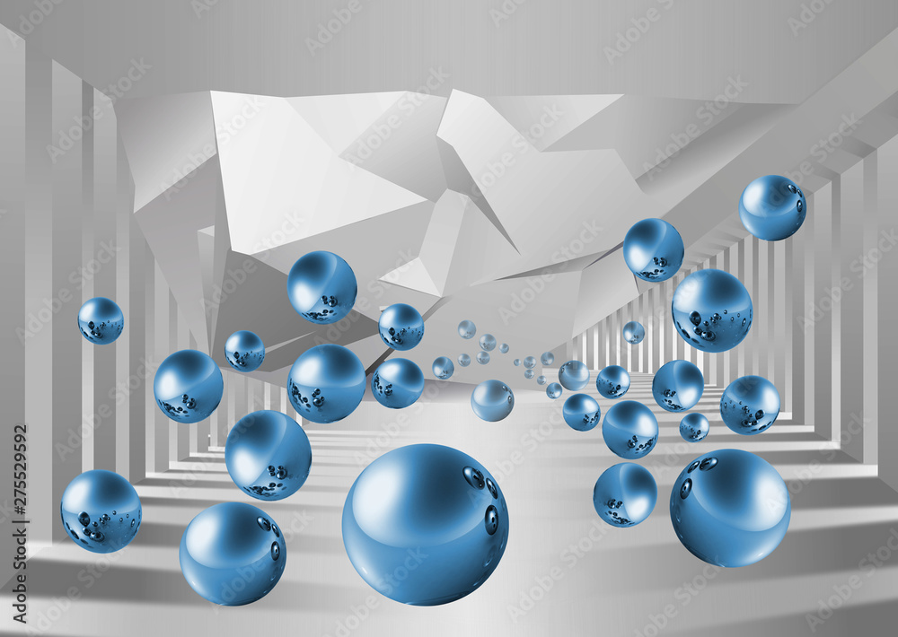 Fototapety, obrazy: Illustration of 3D crystall ball silhouettes of dandelions pattern on decorative silver background 3D wallpaper and tunnel
