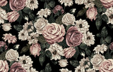 Elegant seamless pattern of blush toned rustic roses in black background great for textile print, background, handmade card design, invitations, wallpaper, packaging, interior or fashion designs. - 275533117