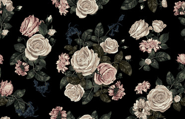 Panel Szklany Podświetlane Róże Elegant seamless pattern of blush toned rustic roses in black background great for textile print, background, handmade card design, invitations, wallpaper, packaging, interior or fashion designs.