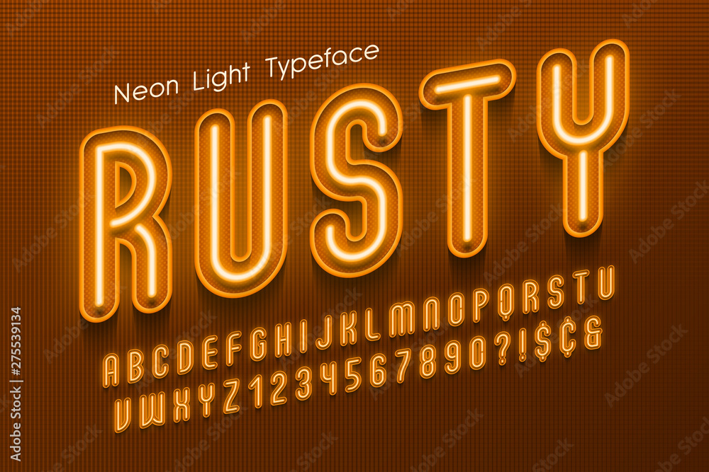 Fototapety, obrazy: Neon light 3d alphabet, extra glowing font.