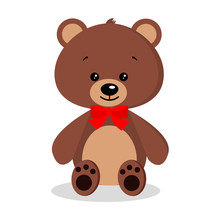 Isolated Cartoon Cute, Sweet, Romantic And Festive Brown Teddy Bear With A Red Bow Tie Around His Neck On White Background. Vector Flat Style Character Icon Illustration.