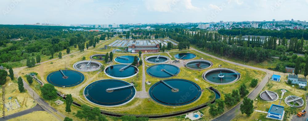 Fototapeta Modern sewage treatment plant, aerial view from drone
