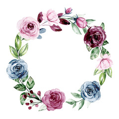 FototapetaWreath, floral frame, watercolor flowers roses. Isolated on white background. Perfectly for greeting card, wedding invite design. Illustration hand painting.