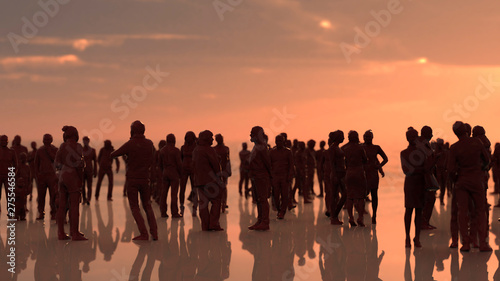 Fototapeta Large outdoor party at beach with lots of people 3d render obraz