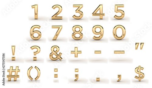 Fotomural  Golden font, all numbers and punctuation marks