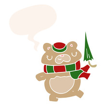 Cartoon Bear And Umbrella And ...