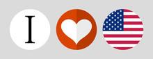 I Love America. Flag And Heart...