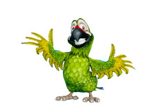 Green Parrot Cartoon In A Whit...