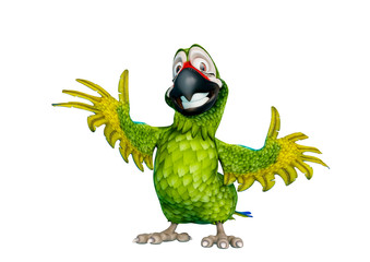 green parrot cartoon in a white background