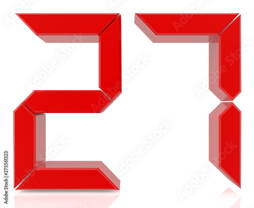 Red digital numbers 27 on white
