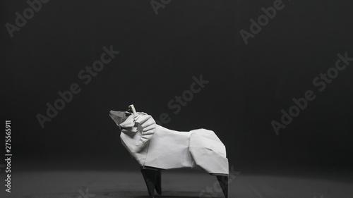 Origami Goat on black background Canvas Print
