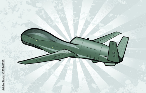Photo Unmanned Surveillance Aircraft Vector Illustration