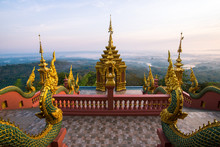 The Picturesque Of Wat Phra That Doi Phra Chan One Of The Most Beautiful Buddhist Temple On The Hills In Lampang Province Of Thailand At Sunrise.