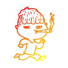 Warm Gradient Line Drawing Cartoon Man Smoking Whilst Running