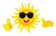 Happy Sun In Sunglasses. A Mer...