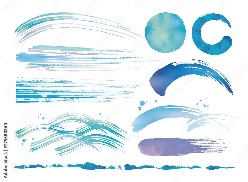 Fototapeta 水彩の筆と波青いセット