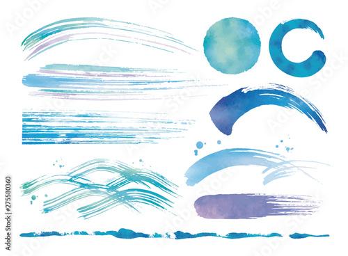 水彩の筆と波青いセット Fototapeta