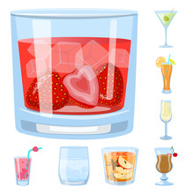 Vector Design Of Cocktail And Drink Logo. Collection Of Cocktail And Ice Stock Symbol For Web.
