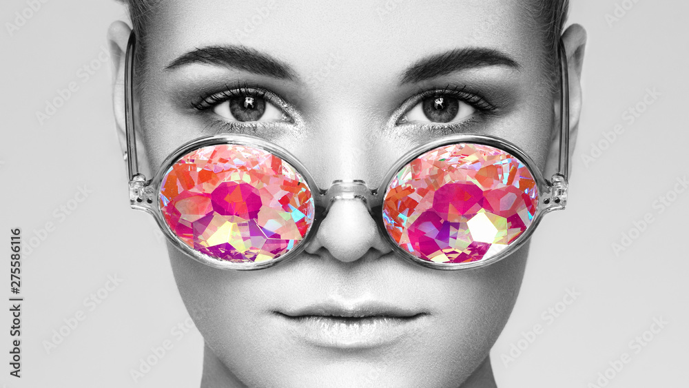 Fototapety, obrazy: Portrait of Beautiful young Woman with Colored Glasses. Beauty Fashion. Perfect Make-up. Colorful Decoration. Holographic sunglasses. Coral color